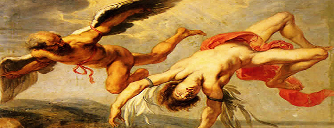 "the myth of icarus portrayed in Then read the story ""icarus and daedalus"" from old greek folk stories told anew by josephine preston peabody the painting and the story are both based on the greek myth of the skilled craftsman daedalus and his son icarus compare how this myth is portrayed in the painting and in the text."
